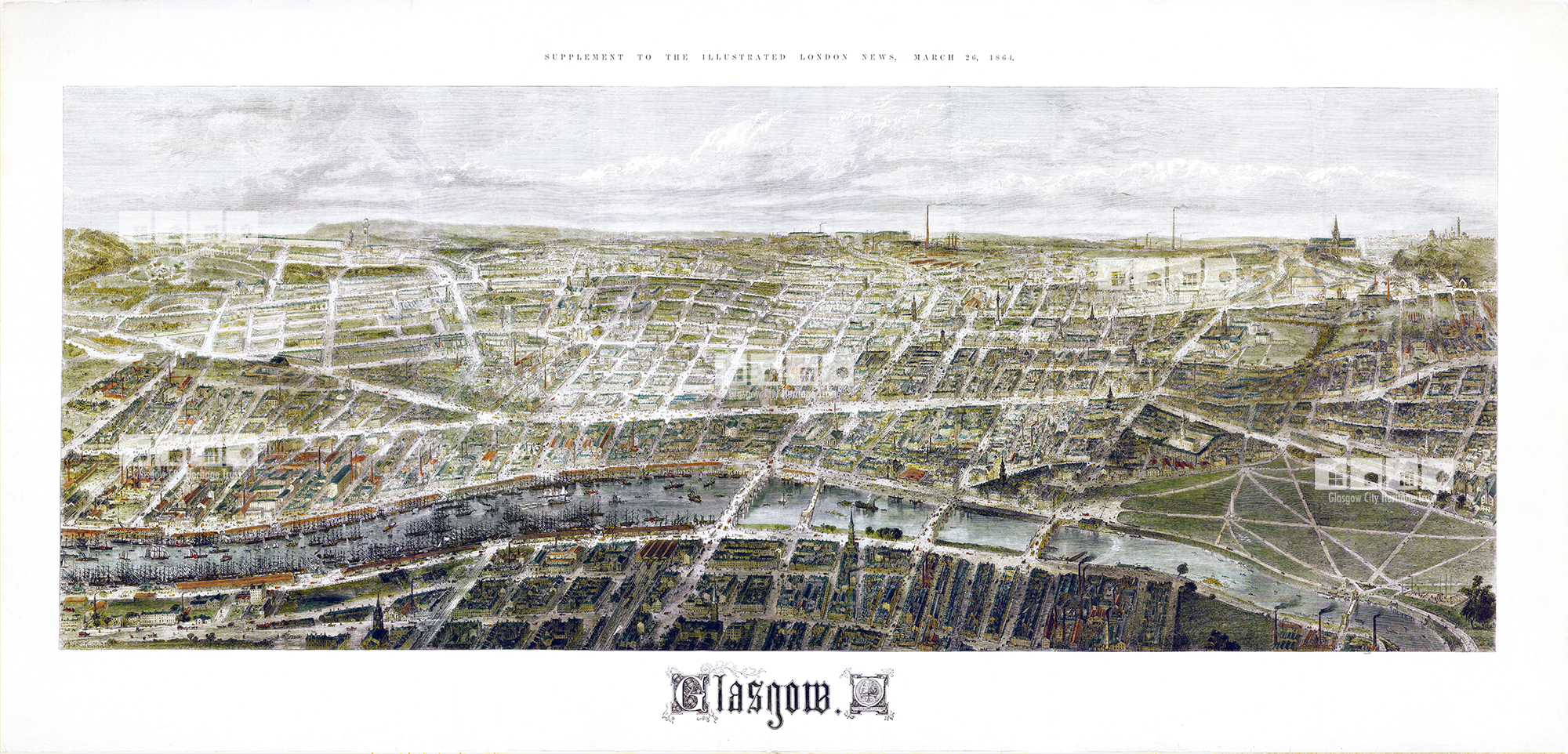 A large highly detailed panoramic map, with margins all the way around the edge and the word Glasgow in the bottom centre.